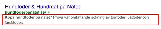 Bild av metabeskrivning i Google