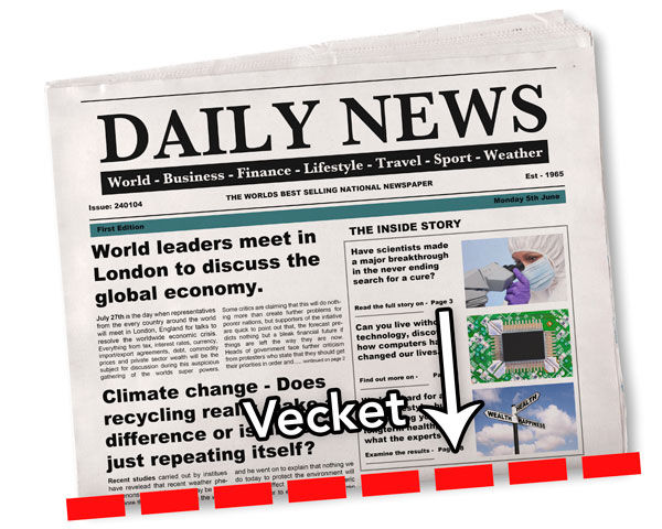 Över vecket på en tidning