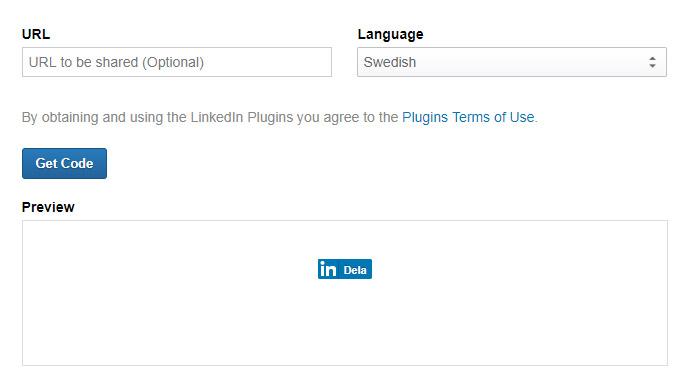 Knapp för att dela på LinkedIn